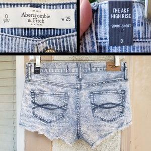 NEW Abercrombie & Fitch stripe denim jean shorts